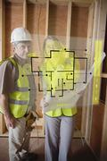 Architect and foreman checking the plans on interface Stock Illustration