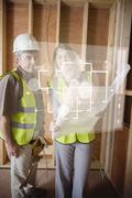 Architect and foreman checking the plans on white interface Stock Illustration