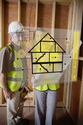 Architect and foreman standing behind house plan interface Stock Illustration