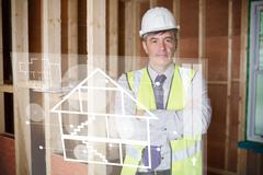 Stock Illustration of Architect standing behind white house plan interface