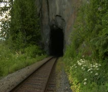 Railway tunnel in mountain Stock Footage
