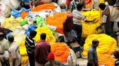 Mullik Ghat Flower Market, India - stock footage