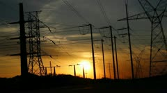 Sunset Powerlines 1 Stock Footage