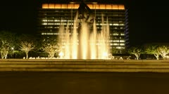 Time Lapse of Water Fountain in Downtown Los Angeles at Night Stock Footage