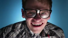 Nerd laughs - stock footage