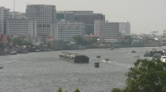 A Tug Pulls Barges in Bangkok p45 Stock Footage