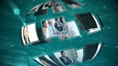 Moving sphere of call centre and telecoms clips Stock Footage