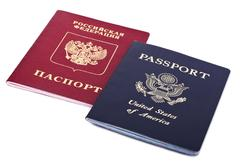 Double nationality - american & russian Stock Photos
