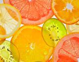 Sliced fruits Stock Photos