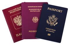 triple nationality - american, german & russian - stock photo