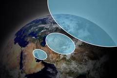 button with earth globe - stock illustration