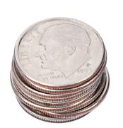 isolated us dime stack - stock photo