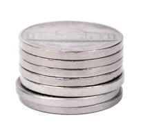Isolated nickel coins stack Stock Photos