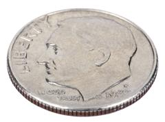 isolated dime - heads high angle - stock photo