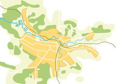 Simplified vector map of the city II Stock Illustration