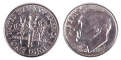 isolated dime - both sides frontal - stock photo