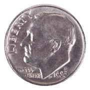 isolated dime - heads frontal - stock photo