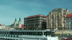 Budapest Pest Side view from gliding ship on the danube - stock footage