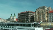 Budapest Pest Side view from gliding ship on the danube Stock Footage