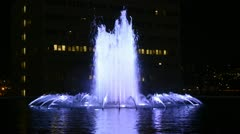 DWP Fountain at Night in Downtown Los Angeles Stock Footage