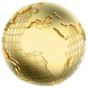Earth in gold metal isolated (africa/europe) Stock Illustration