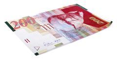 isolated 200 israeli shekels bill - stock photo