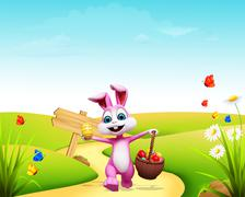 Easter bunny with eggs basket - stock illustration