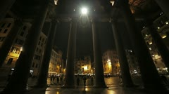 Columns in the facade of the Pantheon by night in Rome Stock Footage