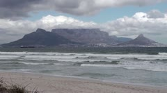 View of Table Mountain across the sea - stock footage