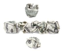 division sign - crimped 100$ bills - stock illustration