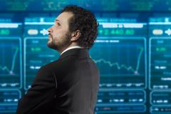Liikemies, jolla on parta ja musta puku stockmarket takaisin Kuvituskuvat