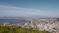 Stock Video Footage of Pan across Cape Town to Table Mountain