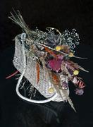 wicker basket with dried flowers - stock photo