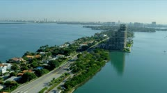 Aerial view Venetian Causeway, Florida Stock Footage