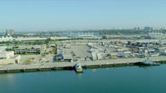 Aerial view Dodge Island Cruise Terminal, USA Stock Footage