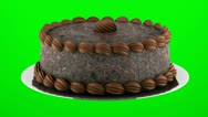 Stock Video Footage of round chocolate cake loop rotate on green chromakey background