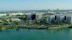 Aerial view Dodge Island Cruise Terminal, Miami Stock Footage
