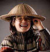 fine portrait of cute little boy in retro style - stock photo