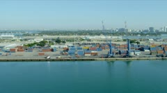 Aerial view PortMiami   container port, USA Stock Footage