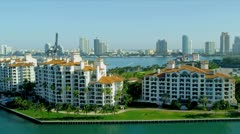 Aerial view Fisher Island, Miami, USA Stock Footage