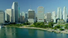 Aerial view Downtown Financial District, Miami - stock footage