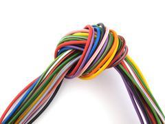 close up of multicoloured wire - stock photo