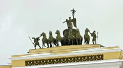 Chariot of Glory on the General staff arch, St. Petersburg, Russia Stock Footage