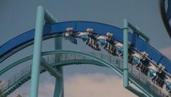 Manta Flying Rollercoaster Top of Chainlift Starting First Drop Stock Footage