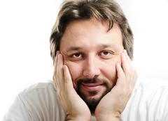 Portrait of 30 years old man with beard Stock Photos