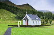 Stock Photo of typical rural icelandic church at overcast day