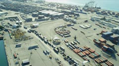 Aerial view Port of Miami  container port Stock Footage