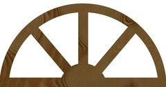 isolated wide arched wooden window flat frame - stock illustration