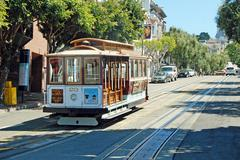 cable car tram in san francisco, usa - stock photo
