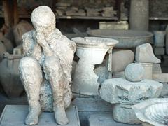 Casualty of disaster in Pompeii, dead body covered with dust Stock Photos